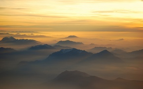 Picture light, mountains, fog, morning, Alps, Italy