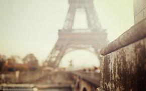 Wallpaper the city, Eiffel tower, Paris, blur, bokeh, focus
