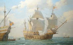 Picture ship, sailboat, art, water. sea