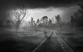 Picture landscape, perspective, people, railroad