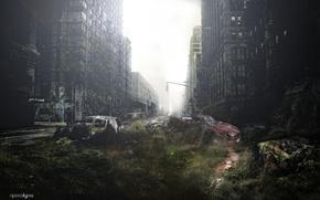 Picture grass, machine, people, disaster, zombies, Apocalypse, chaos, New York, broken, EPIDEMIA, razrushenie