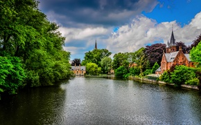 Picture greens, the sky, trees, clouds, nature, the city, Park, river, castle, building, channel, Belgium, architecture, ...