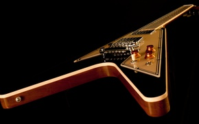 Wallpaper case, strings, guitar, Grif, electric guitar, gibson, black background, flying v