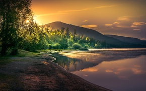 Wallpaper forest, the sun, lake, dawn, shore, trees, mountains, morning