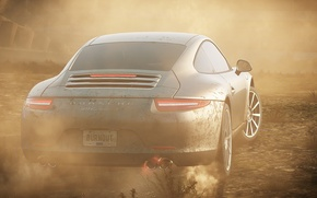 Picture race, smoke, dust, Porsche 911, need for speed most wanted 2012