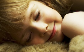 Picture girl, child, soft toy, smile, face, light, hair, sleeping