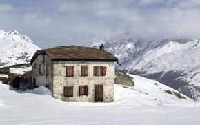 Picture snow, mountains, house