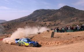 Wallpaper Turn, Dust, People, Skid, Blue, Rally, Subaru, Impreza, Machine, Mountains, Fans, Fans, Auto, Piluca, Day, ...