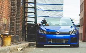 Picture blue, volkswagen, ladder, Golf, blue, Volkswagen, golf R