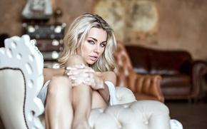 Picture look, girl, sweetheart, model, chair, blonde, legs, Iolanta, Iolanta Pryakhin