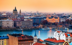 Picture the city, river, building, home, capital, Hungary, Budapest, St. Stephen's Basilica, Catholic Cathedral