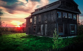 Picture greens, the sky, grass, the sun, light, sunset, orange, house, bright light, beautiful, beautiful, orange, …