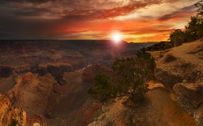 Picture rays, sunset, AZ, USA, Grand Canyon. the sun