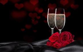 Wallpaper gift, Valentine's Day, wine, roses, love, romantic, glasses, love, heart