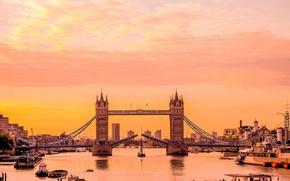 Picture sunrise, Tower Bridge, London, boats, River Thames, Engalnd