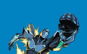 Picture flame, robot, flashlight, cyborg, fist, visor