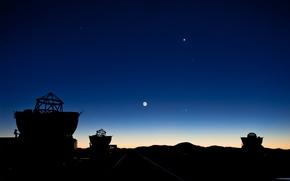 Picture The moon, Mars, Jupiter, telescopes