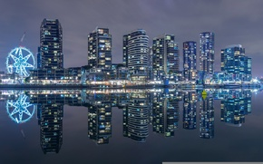 Picture building, Bay, Australia, night city, promenade, skyscrapers, Melbourne, Australia, Melbourne, Victoria Harbour, Bay Victoria harbour