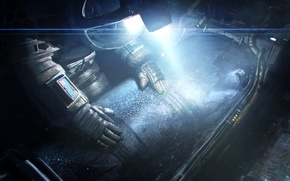 Wallpaper light, dark, the suit, astronaut, fan art, Alien: Isolation, cryochamber