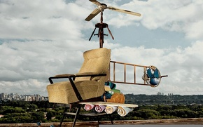 Picture things, chair, helicopter