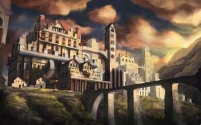 Picture the sky, clouds, bridge, dawn, fantasy, art, tower, fantasy, sky, bridge, art, clouds, dawn, ditch, …
