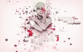 Picture blood, guy, white hair, Tokyo Ghoul, Ken Kanek, Tokyo Ghoul, The Kaneko Ken