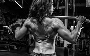 Picture woman, back, bodybuilding, shoulders, bodybuilder