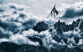 Picture clouds, snow, mountains, dragon, sky, mountains, snow, dragon