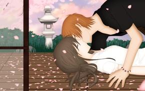 Picture romance, kiss, art, pair, Fruits Basket