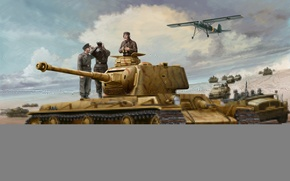 Picture war, art, painting, ww2, KV-1, Kliment Voroshilov, captured tank
