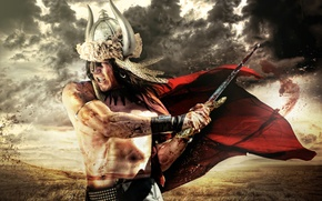 Picture the sky, clouds, background, blood, body, sword, warrior, male