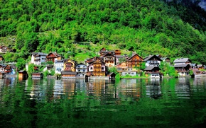 Picture water, lake, building, home, Austria, slope, Austria, Hallstatt, Lake Hallstatt, Hallstatt, Lake Hallstatt
