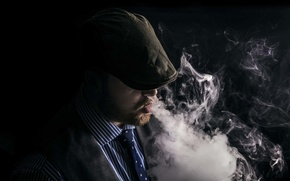Picture smoke, people, cap