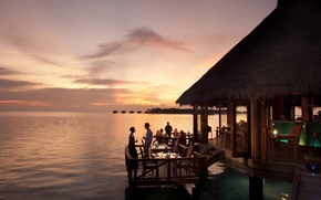 Picture sunset, the ocean, the evening, restaurant, The Maldives, resort