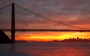 Picture the sun, bridge, the city, San Francisco, Golden gate, USA, USA, Golden Gate Bridge, San …
