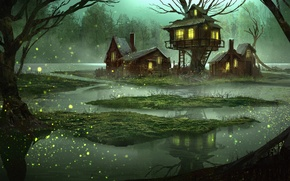 Picture art, the evening, water, house, fantasy, swamp, forest, tale