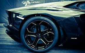 Picture Lamborghini, wheel, disk, black, Aventador, lp700-4, Lamborghini, emendator, side