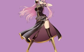 Picture dance, stockings, boots, vocaloid, art, lacing, Megurine Luka, Tony Taka, lilac background, rosaye hair