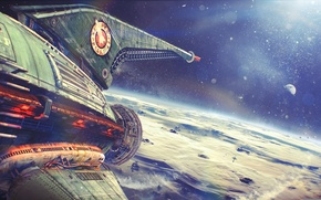 Picture space, flight, figure, ship, planet, art, Futurama, space, Planet Express