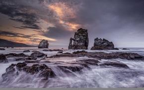 Picture sea, landscape, night, rocks