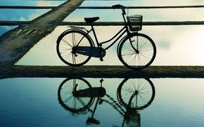 Picture water, bike, reflection, background, widescreen, Wallpaper, basket, mood, wheel, wallpaper, bicycle, basket, widescreen, background, full …