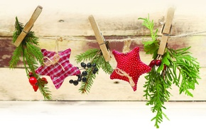 Picture decoration, holiday, rope, New year, stars, clothespins, twigs