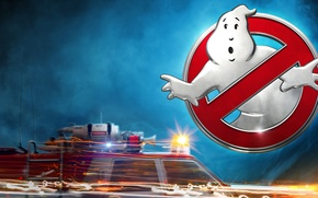 Wallpaper logo, fiction, Ghost, auto, machine, Ghostbusters, sparks, Ghostbusters, fog, flasher, speed, light, poster, sign