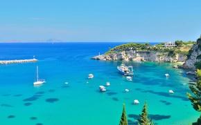 Picture coast, Bay, boats, The Mediterranean sea