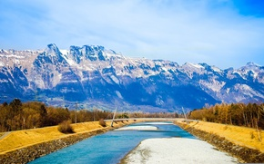 Picture the sky, clouds, snow, mountains, bridge, river, Switzerland, Alps