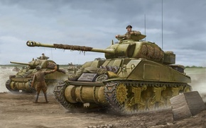 Picture art, tank, Firefly, game, the, tanks, army, Sherman, Sherman, Flames of War, WW2., British, world …