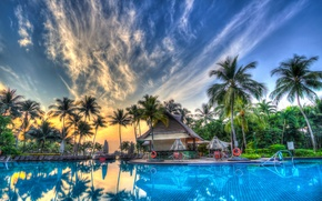 Picture the sky, clouds, palm trees, interior, pool, exterior, pool.