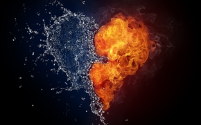 Picture BACKGROUND, FIRE, WATER, DROPS, SMOKE, LIQUID, SQUIRT, FLAME, HEART, FORM