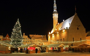 Wallpaper home, Christmas, Estonia, lights, town hall, tree, Tallinn, market, shop, Estonia, Tallinn