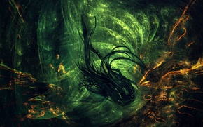 Wallpaper black, abstraction, green